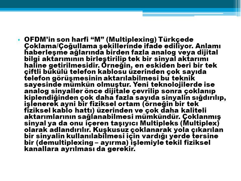 """OFDM'in son harfi """"M"""" (Multiplexing) Türkçede Çoklama/Çoğullama şekillerinde ifade ediliyor. Anlamı haberleşme ağlarında birden fazla analog veya diji"""