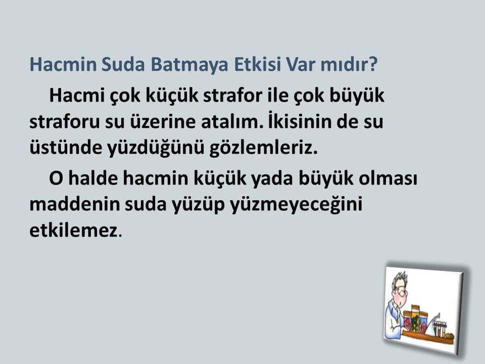 Hacmin Suda Batmaya Etkisi Var mıdır.