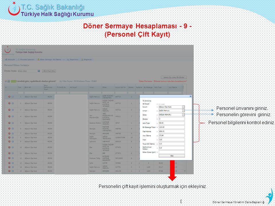 Türkiye Halk Sağlığı Kurumu T.C. Sağlık Bakanlığı Döner Sermaye Yönetimi Daire Başkanlığı Personel ünvanını giriniz. Personelin görevini giriniz. Pers