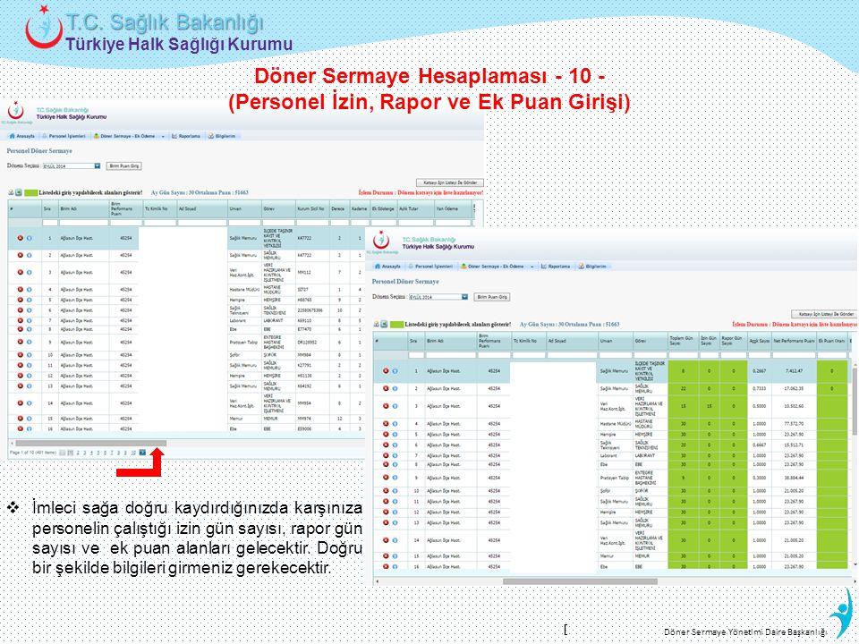 Türkiye Halk Sağlığı Kurumu T.C. Sağlık Bakanlığı Döner Sermaye Yönetimi Daire Başkanlığı  İmleci sağa doğru kaydırdığınızda karşınıza personelin çal