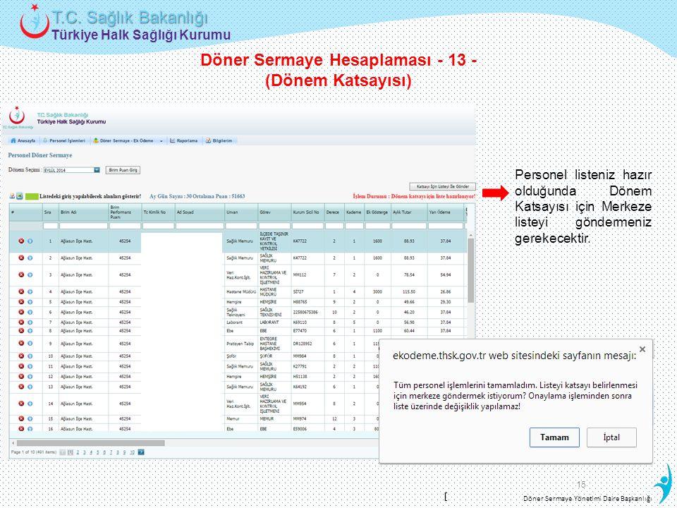 Türkiye Halk Sağlığı Kurumu T.C. Sağlık Bakanlığı Döner Sermaye Yönetimi Daire Başkanlığı 15 Personel listeniz hazır olduğunda Dönem Katsayısı için Me