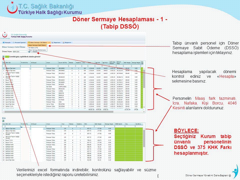 Türkiye Halk Sağlığı Kurumu T.C. Sağlık Bakanlığı Döner Sermaye Yönetimi Daire Başkanlığı Döner Sermaye Hesaplaması - 1 - (Tabip DSSÖ) Tabip ünvanlı p