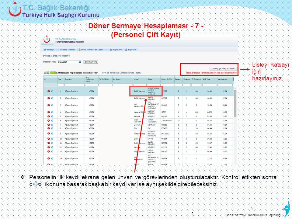 Türkiye Halk Sağlığı Kurumu T.C. Sağlık Bakanlığı Döner Sermaye Yönetimi Daire Başkanlığı 9  Personelin ilk kaydı ekrana gelen unvan ve görevlerinden