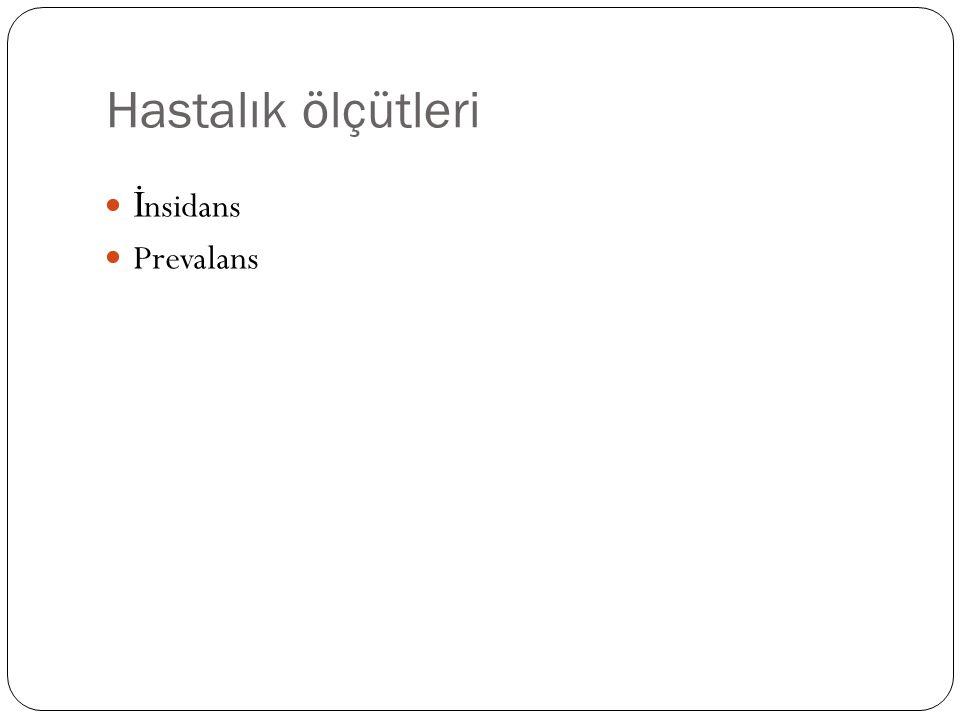 Hastalık ölçütleri İ nsidans Prevalans