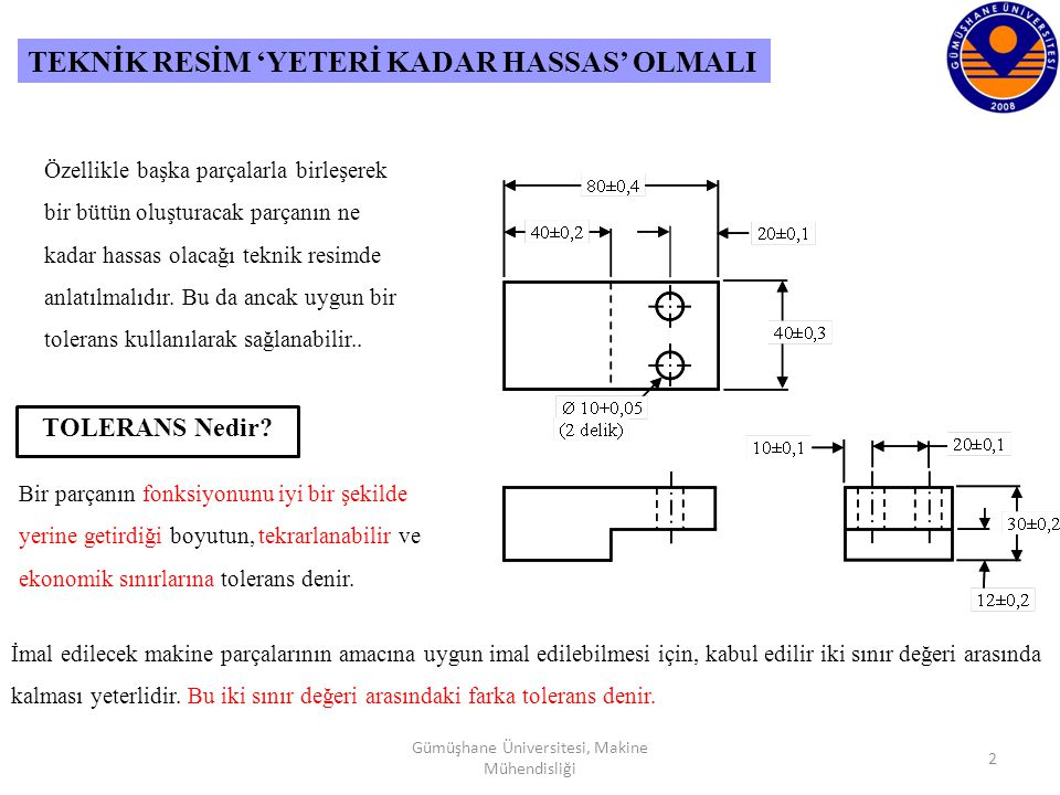 13 Gümüşhane Üniversitesi, Makine Mühendisliği TOLERANSLAR