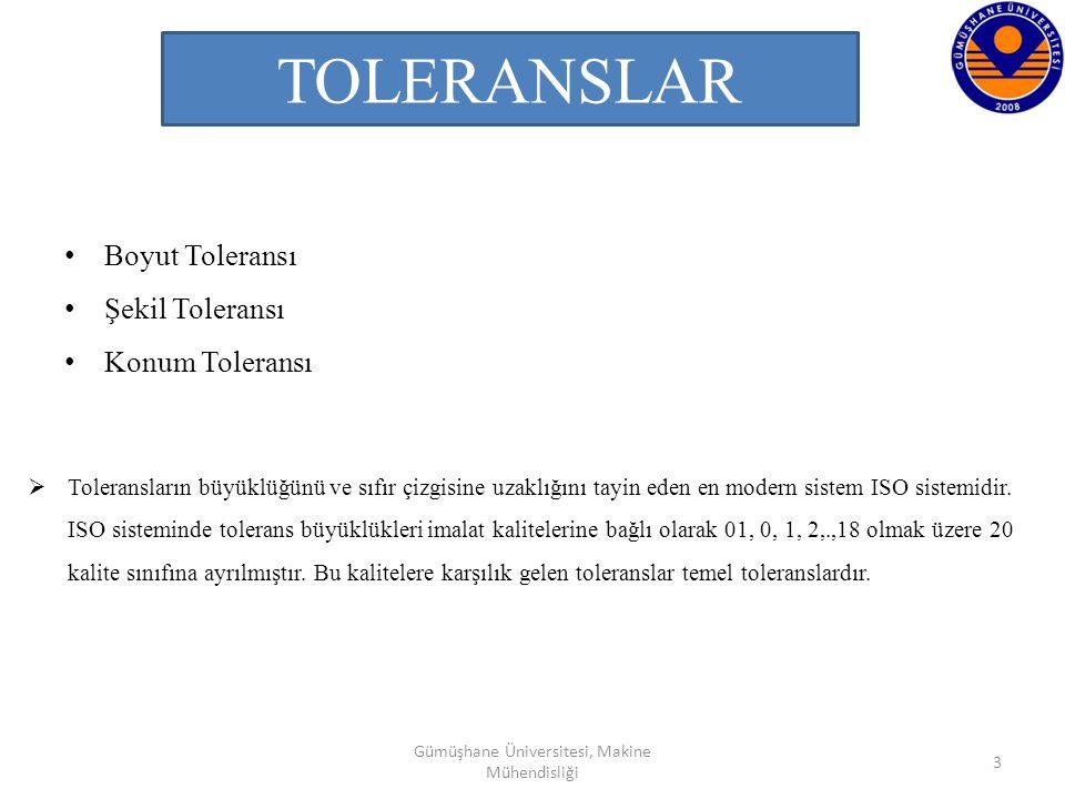 TOLERANSLAR Boyut Toleransı Şekil Toleransı Konum Toleransı 3  Toleransların büyüklüğünü ve sıfır çizgisine uzaklığını tayin eden en modern sistem IS