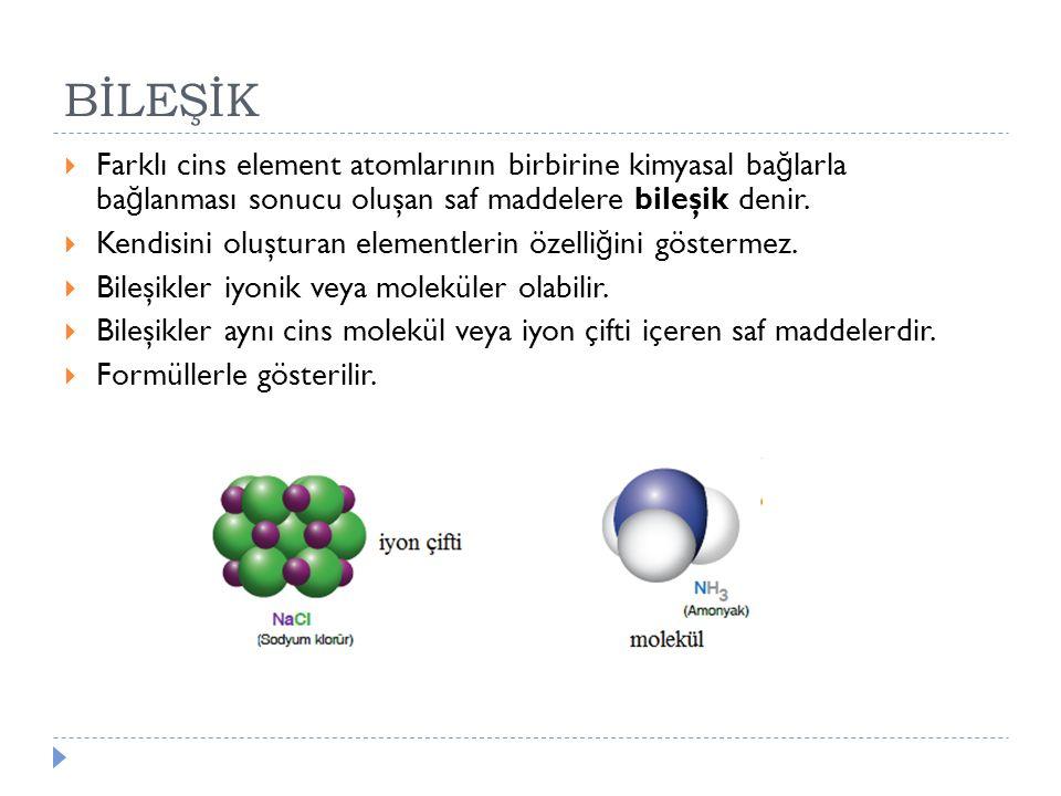 BİLEŞİK  Farklı cins element atomlarının birbirine kimyasal ba ğ larla ba ğ lanması sonucu oluşan saf maddelere bileşik denir.