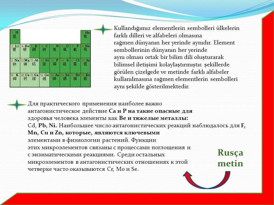 Kullandığımız elementlerin sembolleri ülkelerin farklı dilleri ve alfabeleri olmasına rağmen dünyanın her yerinde aynıdır. Element sembollerinin dünya