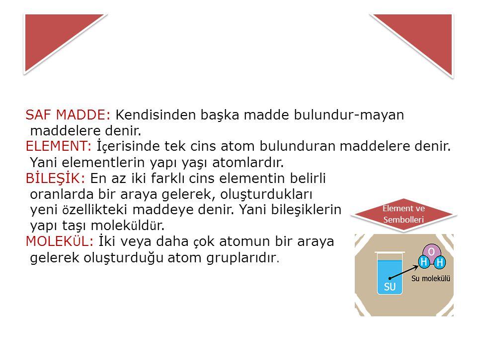 SAF MADDE: Kendisinden başka madde bulundur-mayan maddelere denir.