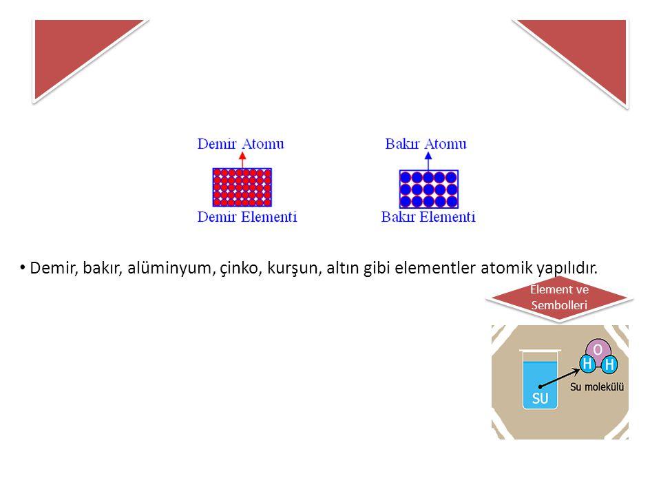 Element ve Sembolleri Moleküler Yapıdaki Elementler : Bazı elementleri oluşturan aynı cins atomlar doğada ikili (veya daha fazla sayıda atomdan oluşan karmaşık yapılı) gruplar halinde bulunurlar.