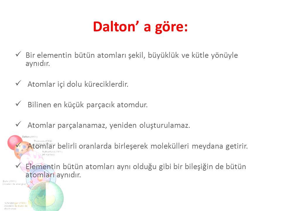 Dalton' a göre: Bir elementin bütün atomları şekil, büyüklük ve kütle yönüyle aynıdır. Atomlar içi dolu küreciklerdir. Bilinen en küçük parçacık atomd