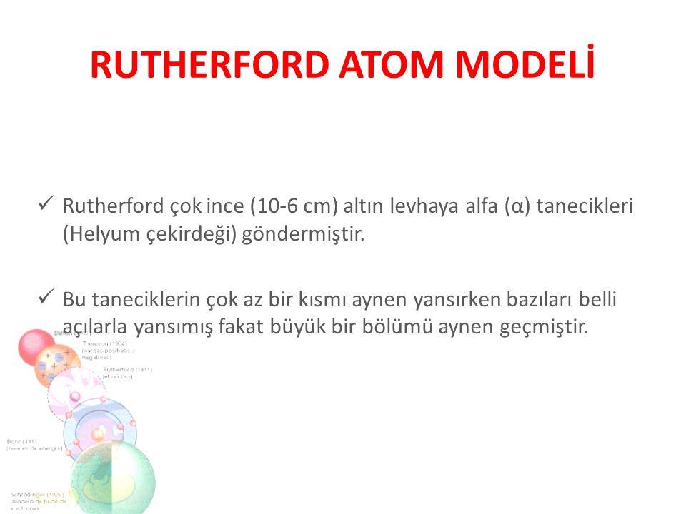 Rutherford çok ince (10-6 cm) altın levhaya alfa (α) tanecikleri (Helyum çekirdeği) göndermiştir. Bu taneciklerin çok az bir kısmı aynen yansırken baz