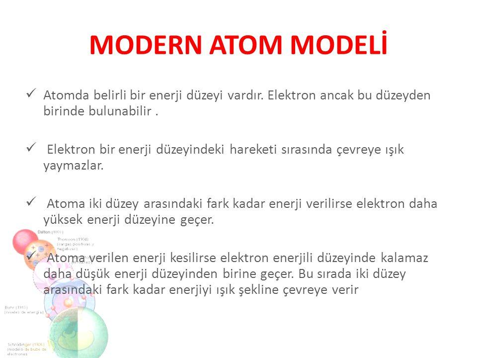 MODERN ATOM MODELİ Atomda belirli bir enerji düzeyi vardır. Elektron ancak bu düzeyden birinde bulunabilir. Elektron bir enerji düzeyindeki hareketi s