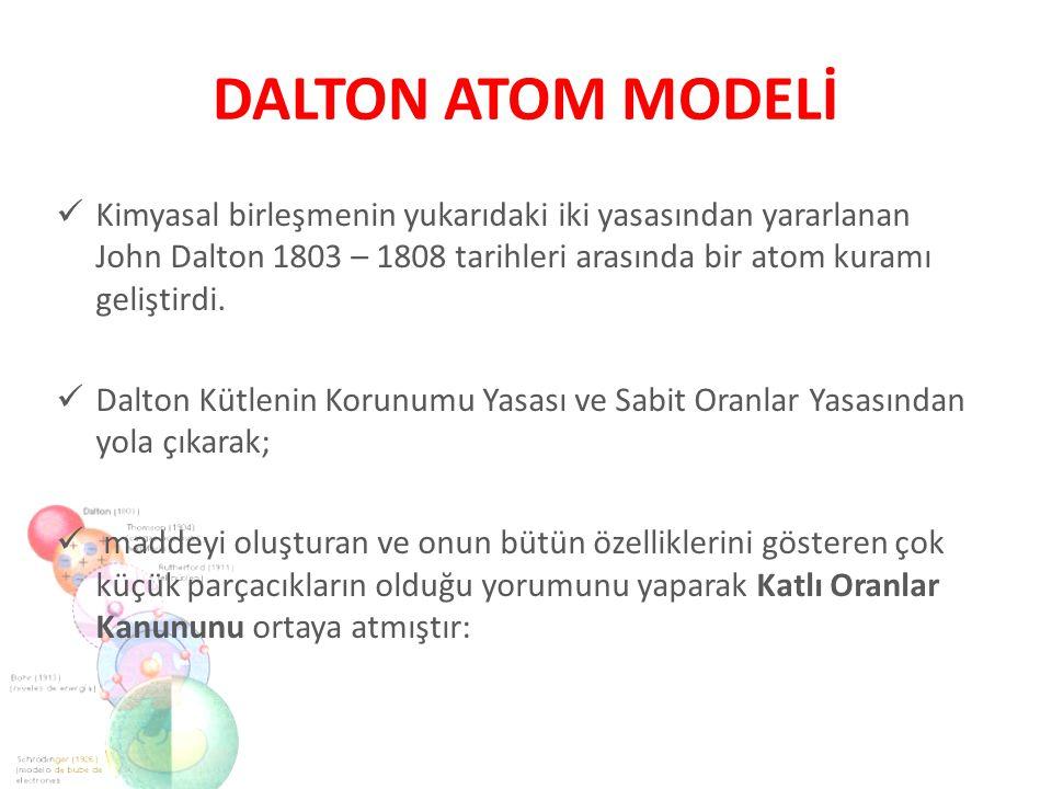 Kimyasal birleşmenin yukarıdaki iki yasasından yararlanan John Dalton 1803 – 1808 tarihleri arasında bir atom kuramı geliştirdi. Dalton Kütlenin Korun