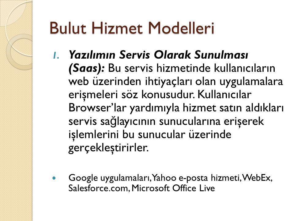 Bulut Hizmet Modelleri 1. Yazılımın Servis Olarak Sunulması (Saas): Bu servis hizmetinde kullanıcıların web üzerinden ihtiyaçları olan uygulamalara er
