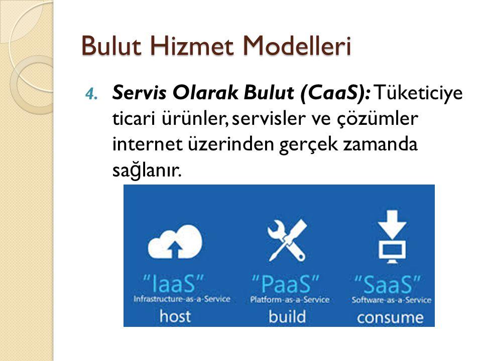 Bulut Hizmet Modelleri 4. Servis Olarak Bulut (CaaS): Tüketiciye ticari ürünler, servisler ve çözümler internet üzerinden gerçek zamanda sa ğ lanır.