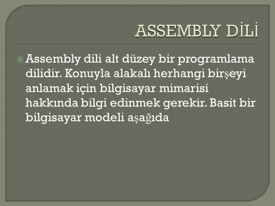  Assembly dili alt düzey bir programlama dilidir. Konuyla alakalı herhangi bir ş eyi anlamak için bilgisayar mimarisi hakkında bilgi edinmek gerekir.
