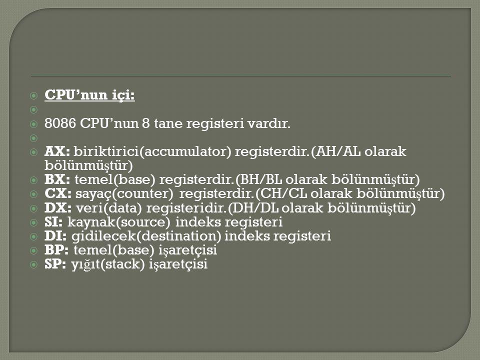  CPU'nun içi:   8086 CPU'nun 8 tane registeri vardır.   AX: biriktirici(accumulator) registerdir.(AH/AL olarak bölünmü ş tür)  BX: temel(base) r