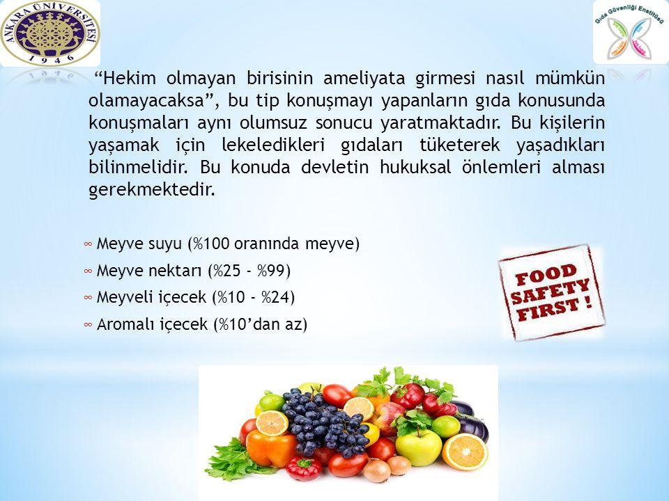 """∞ Meyve suyu (%100 oranında meyve) ∞ Meyve nektarı (%25 - %99) ∞ Meyveli içecek (%10 - %24) ∞ Aromalı içecek (%10'dan az) """"Hekim olmayan birisinin ame"""