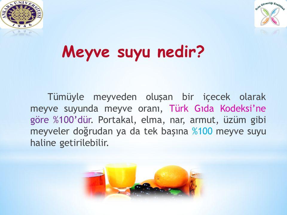 Meyve suyu nedir? Tümüyle meyveden oluşan bir içecek olarak meyve suyunda meyve oranı, Türk Gıda Kodeksi'ne göre %100'dür. Portakal, elma, nar, armut,