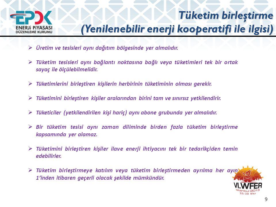 Tüketim birleştirme (Yenilenebilir enerji kooperatifi ile ilgisi) 9  Üretim ve tesisleri aynı dağıtım bölgesinde yer almalıdır.  Tüketim tesisleri a