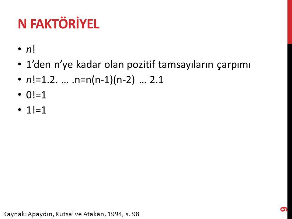 N FAKTÖRİYEL n! 1'den n'ye kadar olan pozitif tamsayıların çarpımı n!=1.2. ….n=n(n-1)(n-2) … 2.1 0!=1 1!=1 9 Kaynak: Apaydın, Kutsal ve Atakan, 1994,