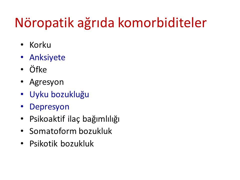 Korku Anksiyete Öfke Agresyon Uyku bozukluğu Depresyon Psikoaktif ilaç bağımlılığı Somatoform bozukluk Psikotik bozukluk Nöropatik ağrıda komorbiditeler
