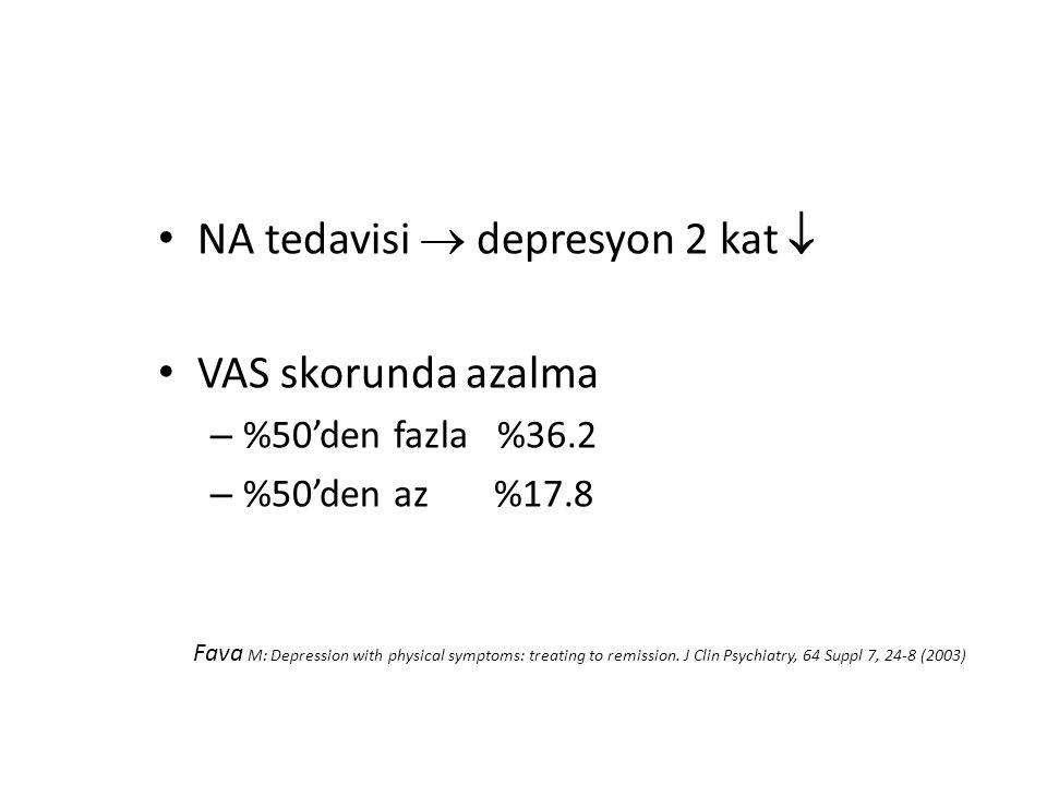 NA tedavisi  depresyon 2 kat  VAS skorunda azalma – %50'den fazla %36.2 – %50'den az %17.8 Fava M: Depression with physical symptoms: treating to remission.
