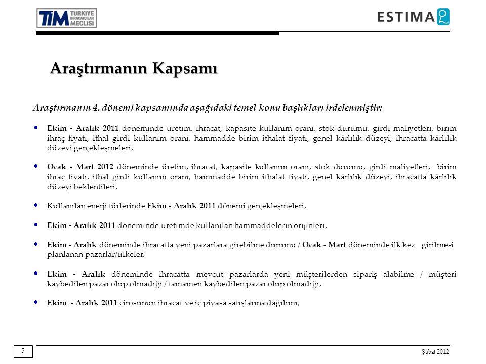 Şubat 2012 56 Baz: 520 Yukarıdaki grafikte; sektör, Türkiye, Avrupa ve Dünya ekonomisine ilişkin olumlu beklenti içerisinde olan firmaların oranı firmaların ihracat büyüklükleri kırılımında sunulmaktadır.