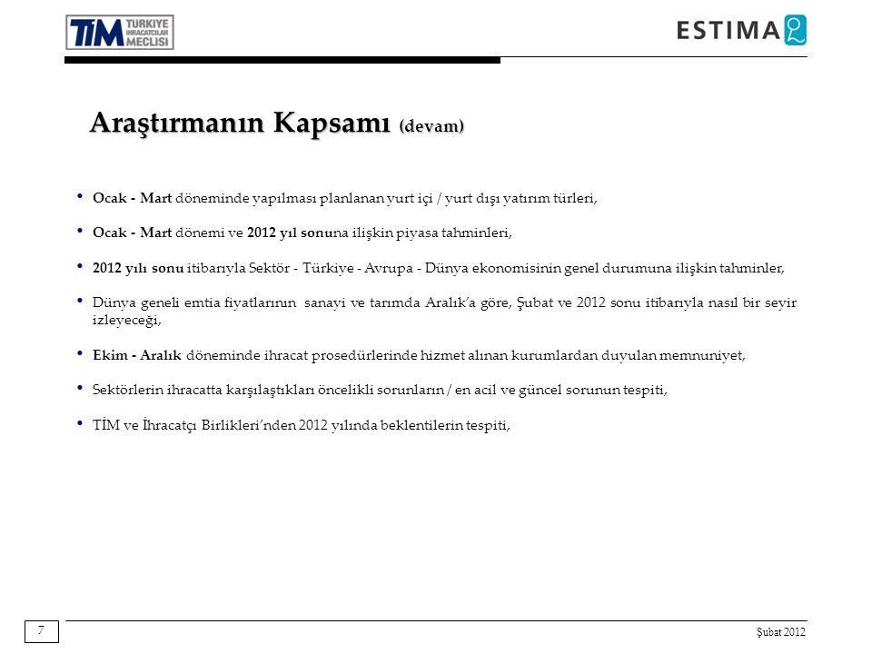 Şubat 2012 18 Baz: 520 S S Geçen yılın aynı dönemine göre, Ekim - Aralık 2011 dönemindeki gelişmeyi belirtiniz.