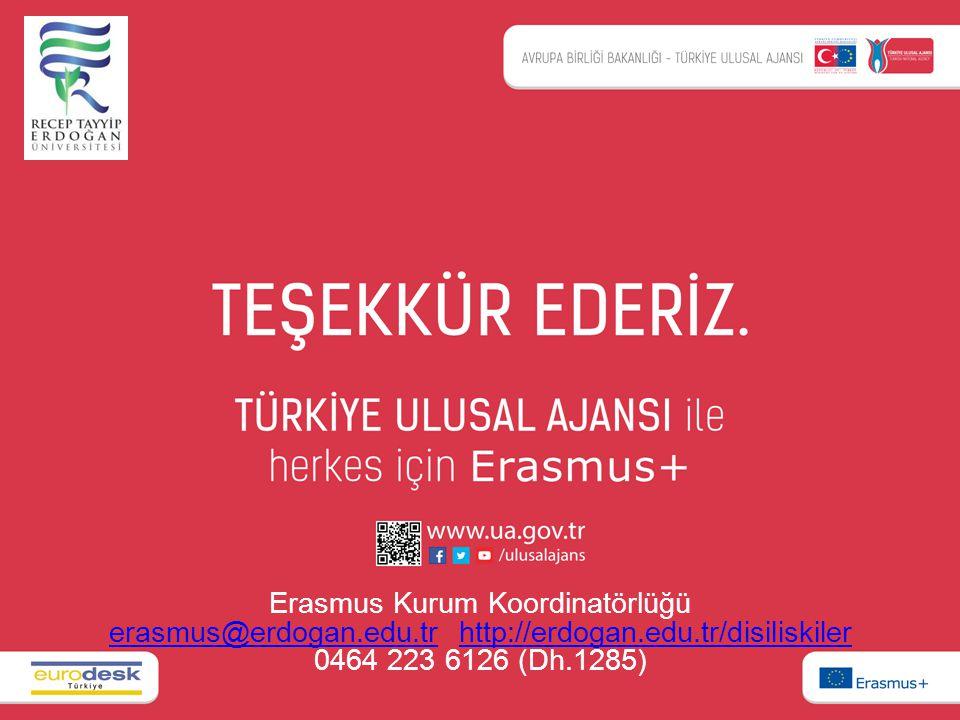 Erasmus Kurum Koordinatörlüğü erasmus@erdogan.edu.trerasmus@erdogan.edu.tr http://erdogan.edu.tr/disiliskiler 0464 223 6126 (Dh.1285)http://erdogan.ed