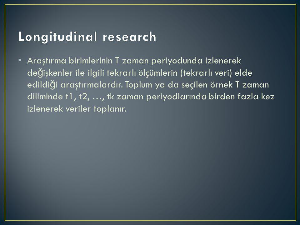 Araştırma birimlerinin T zaman periyodunda izlenerek de ğ işkenler ile ilgili tekrarlı ölçümlerin (tekrarlı veri) elde edildi ğ i araştırmalardır.