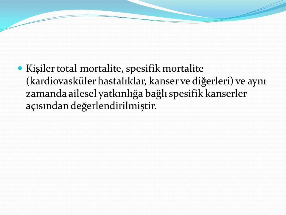 Kişiler total mortalite, spesifik mortalite (kardiovasküler hastalıklar, kanser ve diğerleri) ve aynı zamanda ailesel yatkınlığa bağlı spesifik kanser