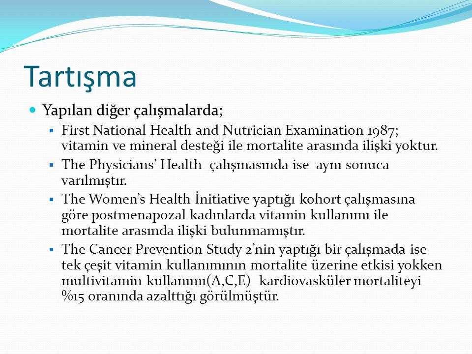 Tartışma Yapılan diğer çalışmalarda;  First National Health and Nutrician Examination 1987; vitamin ve mineral desteği ile mortalite arasında ilişki