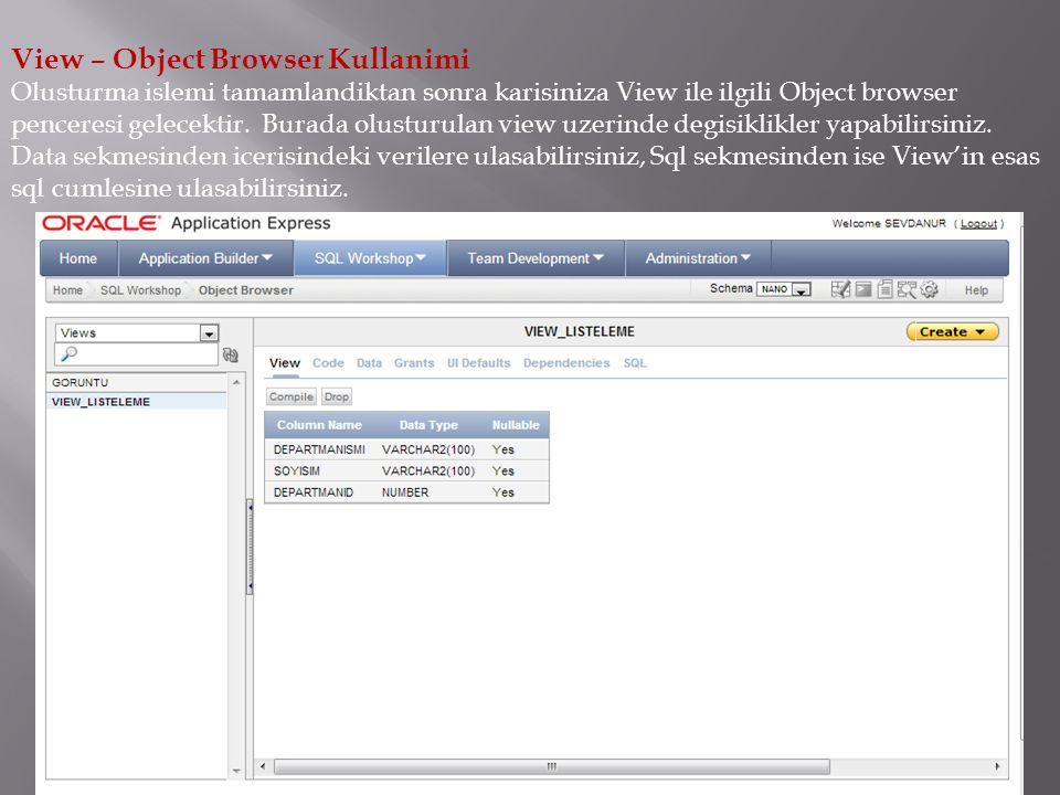 View – Object Browser Kullanimi Olusturma islemi tamamlandiktan sonra karisiniza View ile ilgili Object browser penceresi gelecektir.