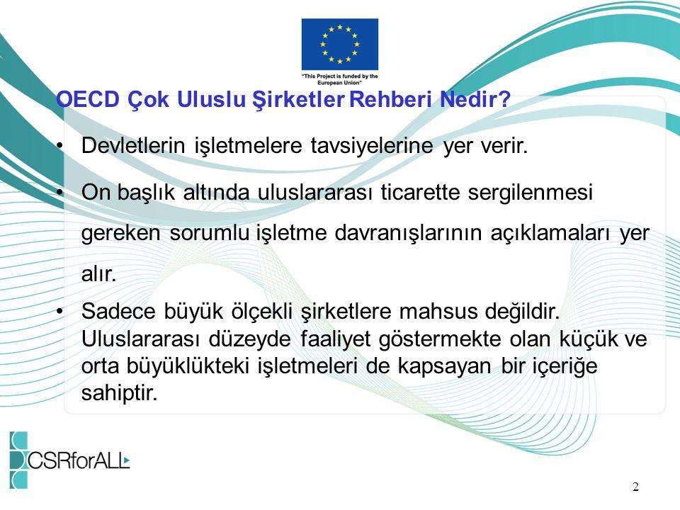 OECD Çok Uluslu Şirketler Rehberi Nedir? Devletlerin işletmelere tavsiyelerine yer verir. On başlık altında uluslararası ticarette sergilenmesi gereke