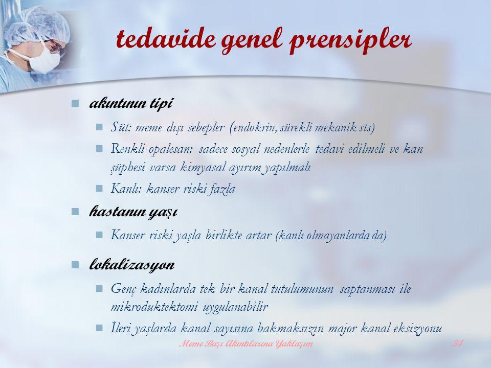 Meme Başı Akıntılarına Yaklaşım34 tedavide genel prensipler akıntının tipi Süt: meme dışı sebepler ( endokrin, sürekli mekanik sts) Renkli-opalesan: s