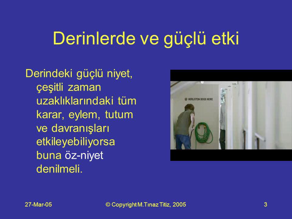 27-Mar-05© Copyright M.Tınaz Titiz, 20054 Tam bir pusula Öz-niyet, her sorun, her seçenekli durum karşısında ne yapılması gerektiğinin yönünü gösterir.