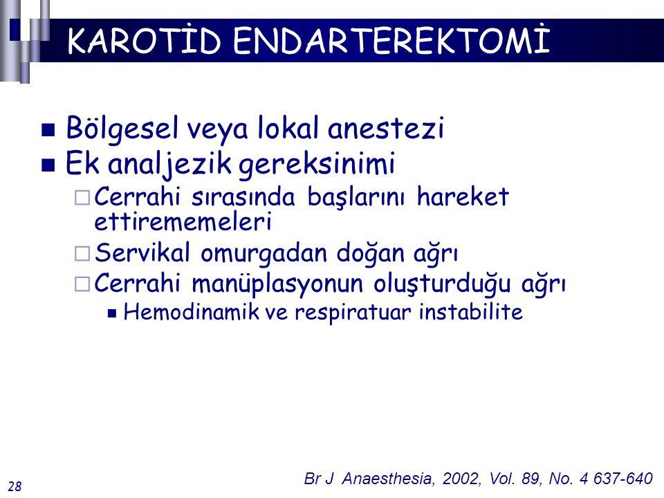 KAROTİD ENDARTEREKTOMİ Bölgesel veya lokal anestezi Ek analjezik gereksinimi  Cerrahi sırasında başlarını hareket ettirememeleri  Servikal omurgadan doğan ağrı  Cerrahi manüplasyonun oluşturduğu ağrı Hemodinamik ve respiratuar instabilite Br J Anaesthesia, 2002, Vol.