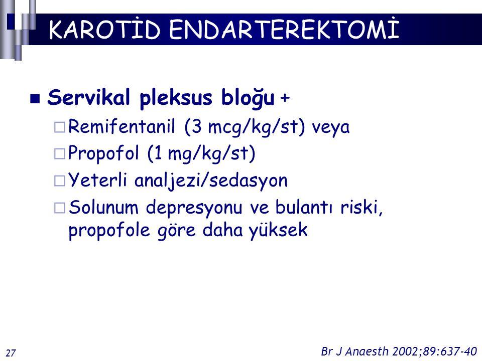 KAROTİD ENDARTEREKTOMİ Servikal pleksus bloğu +  Remifentanil (3 mcg/kg/st) veya  Propofol (1 mg/kg/st)  Yeterli analjezi/sedasyon  Solunum depresyonu ve bulantı riski, propofole göre daha yüksek Br J Anaesth 2002;89:637-40 27