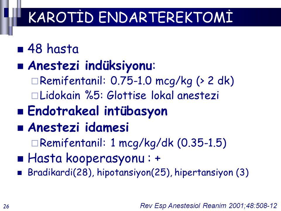 KAROTİD ENDARTEREKTOMİ 48 hasta Anestezi indüksiyonu:  Remifentanil: 0.75-1.0 mcg/kg (> 2 dk)  Lidokain %5: Glottise lokal anestezi Endotrakeal intübasyon Anestezi idamesi  Remifentanil: 1 mcg/kg/dk (0.35-1.5) Hasta kooperasyonu : + Bradikardi(28), hipotansiyon(25), hipertansiyon (3) Rev Esp Anestesiol Reanim 2001;48:508-12 26