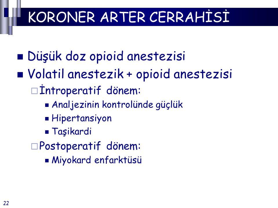 KORONER ARTER CERRAHİSİ Düşük doz opioid anestezisi Volatil anestezik + opioid anestezisi  İntroperatif dönem: Analjezinin kontrolünde güçlük Hipertansiyon Taşikardi  Postoperatif dönem: Miyokard enfarktüsü 22