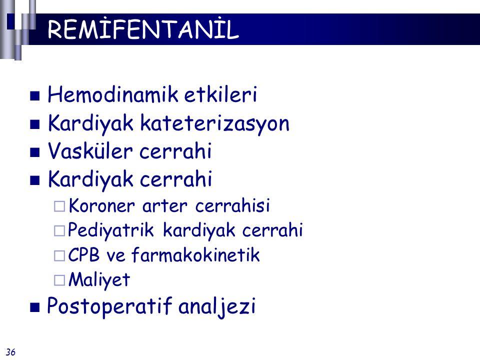 MİNİMAL İNVAZİV CABG Anestezi indüksiyonu (propofol +)  Remifentanil: 2 mcg/kg  Alfentanil: 40 mcg/kg Anestezi idamesi (propofol +)  Remifentanil: 0.25 - 0.5 mcg/kg/dk  Alfentanil: 0.5 - 1 mcg/kg/dk Uyanma ve ekstübasyon süreleri remifentanil gurubunda çok daha kısa Anesth Analg 2000;90:1269-74 15