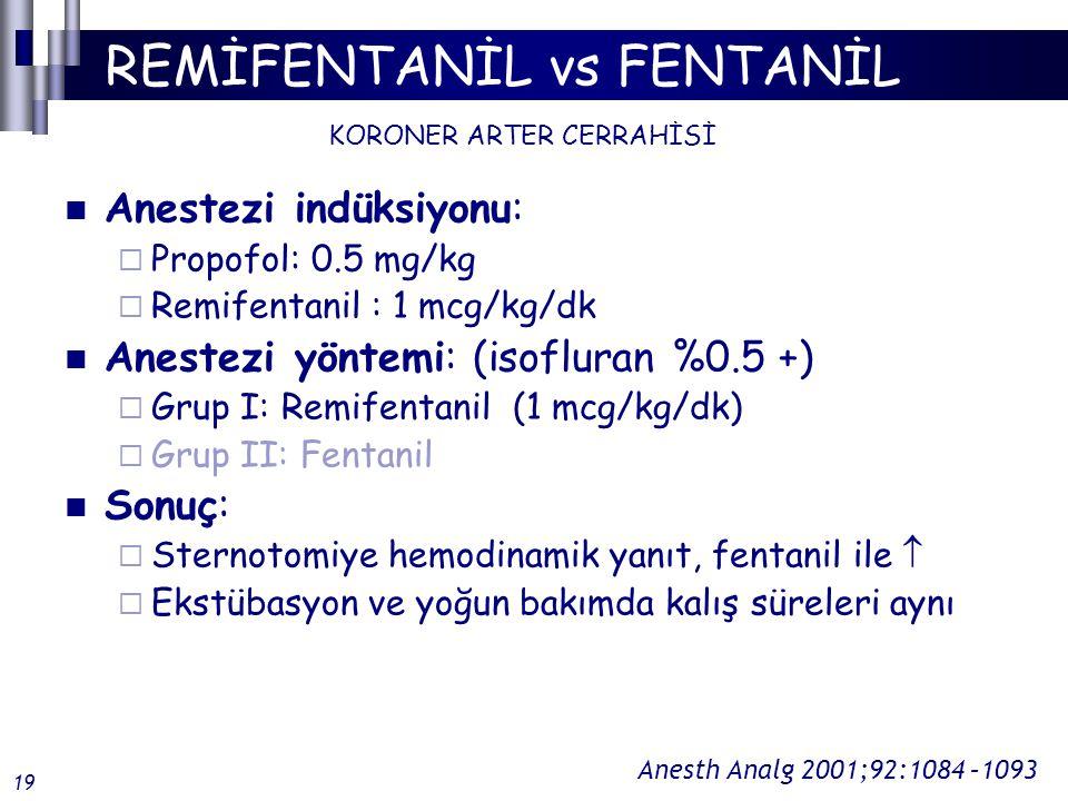 REMİFENTANİL vs FENTANİL Anestezi indüksiyonu:  Propofol: 0.5 mg/kg  Remifentanil : 1 mcg/kg/dk Anestezi yöntemi: (isofluran %0.5 +)  Grup I: Remifentanil (1 mcg/kg/dk)  Grup II: Fentanil Sonuç:  Sternotomiye hemodinamik yanıt, fentanil ile   Ekstübasyon ve yoğun bakımda kalış süreleri aynı KORONER ARTER CERRAHİSİ Anesth Analg 2001;92:1084 –1093 19