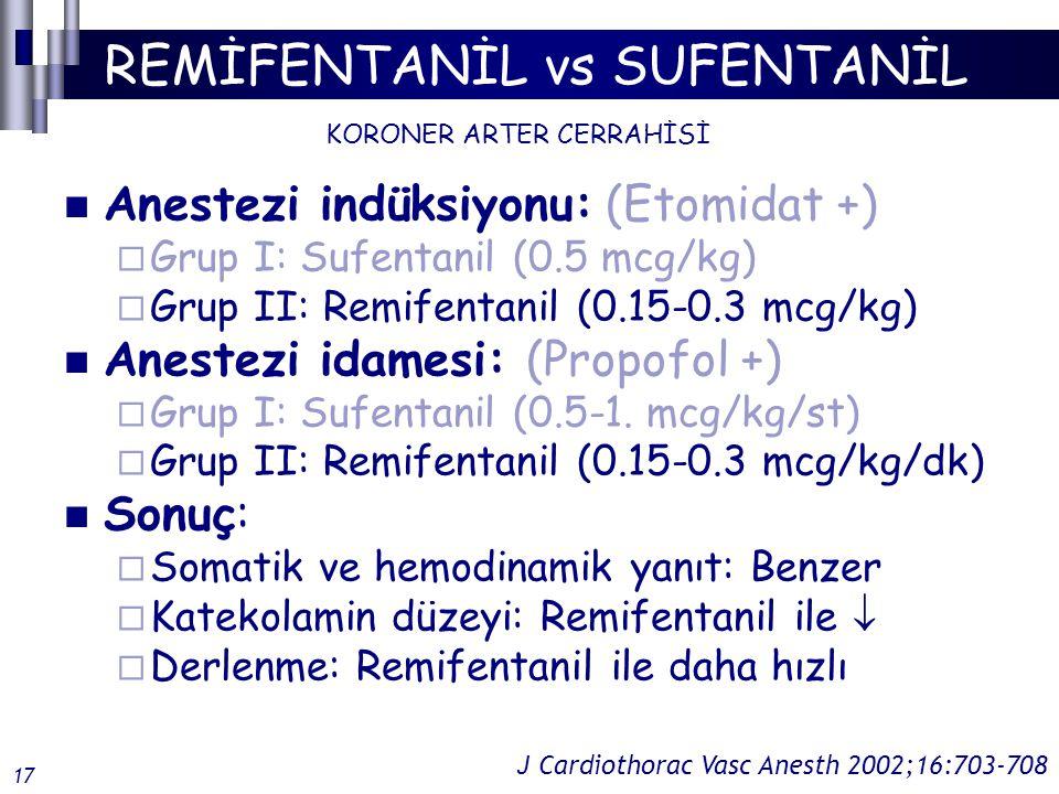 REMİFENTANİL vs SUFENTANİL Anestezi indüksiyonu: (Etomidat +)  Grup I: Sufentanil (0.5 mcg/kg)  Grup II: Remifentanil (0.15-0.3 mcg/kg) Anestezi idamesi: (Propofol +)  Grup I: Sufentanil (0.5-1.