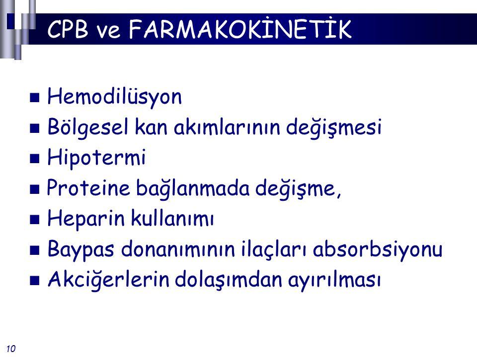 CPB ve FARMAKOKİNETİK Hemodilüsyon Bölgesel kan akımlarının değişmesi Hipotermi Proteine bağlanmada değişme, Heparin kullanımı Baypas donanımının ilaçları absorbsiyonu Akciğerlerin dolaşımdan ayırılması 10