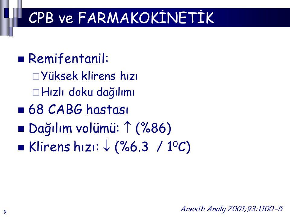 CPB ve FARMAKOKİNETİK Remifentanil:  Yüksek klirens hızı  Hızlı doku dağılımı 68 CABG hastası Dağılım volümü:  (%86) Klirens hızı:  (%6.3 / 1 0 C) Anesth Analg 2001;93:1100 –5 9