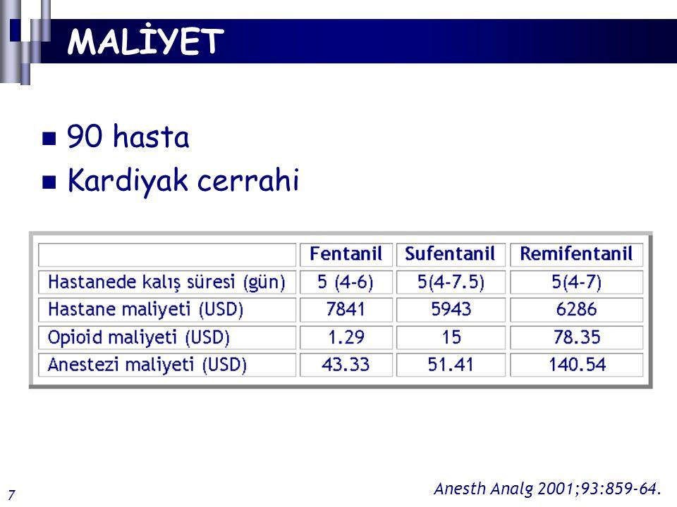 MALİYET 90 hasta Kardiyak cerrahi Anesth Analg 2001;93:859-64. 7
