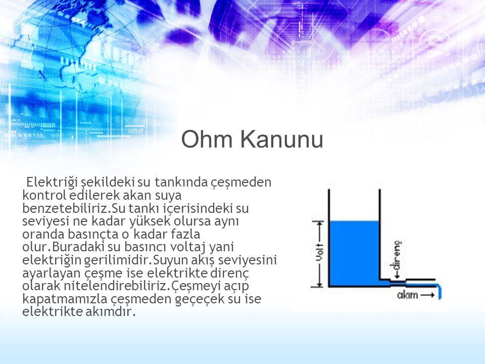 Ohm Kanunu Elektriği şekildeki su tankında çeşmeden kontrol edilerek akan suya benzetebiliriz.Su tankı içerisindeki su seviyesi ne kadar yüksek olursa