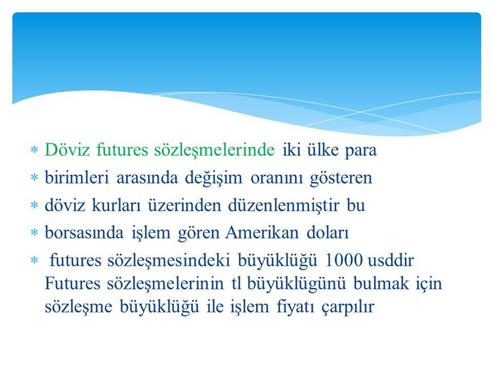  Döviz futures sözleşmelerinde iki ülke para  birimleri arasında değişim oranını gösteren  döviz kurları üzerinden düzenlenmiştir bu  borsasında i